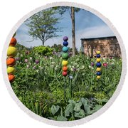 Sticks With Colorful Balls In A Garden Round Beach Towel