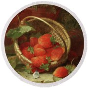 Still Life Of Strawberries With A Cabbage White Butterfly Round Beach Towel