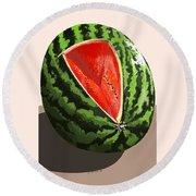 Still Life Watermelon 1 Round Beach Towel