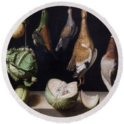 Still Life With Game Fowl Round Beach Towel