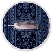Still Life With Grey Feather Round Beach Towel