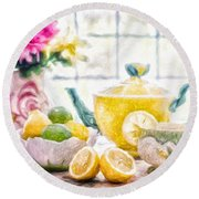Still Life With Lemons Round Beach Towel