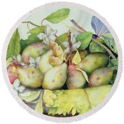 Still Life With Plums, Walnuts And Jasmine Round Beach Towel