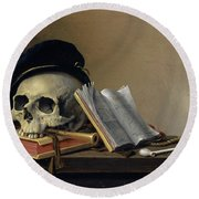 Still Life With Skull, Books, Flute And Pipe Round Beach Towel