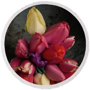 Still Life With Tulips 35 Round Beach Towel