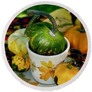 Still Live With Autumn Coffee Cup And Gourds Round Beach Towel