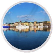 Stockholm Old City Sunrise Reflection In The Baltic Sea Round Beach Towel