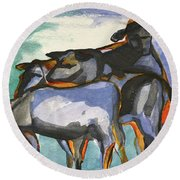 Stone Barn Cows Round Beach Towel