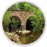Stone Bridge At The Eastern Entrance Of The Manassas Battlefield  Round Beach Towel