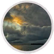 Storm Approaches At Sunset Round Beach Towel