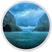 Storm Clouds Invade Ha Long Bay Blue Rain  Round Beach Towel