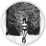 Storm In A Glass Box Round Beach Towel
