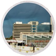Storm Over Union Station Round Beach Towel