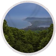 Stormy Day On Sleeping Bear Dunes Round Beach Towel