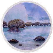 Stormy Shore On Nisyros Greece Round Beach Towel