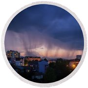 Stormy Weather Over The Small Town Round Beach Towel