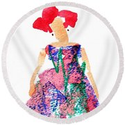 Strawberry Dress Round Beach Towel