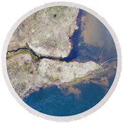 Stream Along Manistee River Aerial Round Beach Towel