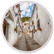 street in Mijas, Spain Round Beach Towel by Ariadna De Raadt