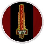 Studebaker Neon Sign Round Beach Towel by Susan Rissi Tregoning