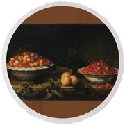 Studio Of Francois Garnier Paris 1600 - 1672 Still Life With A Bowl Of Cherries Round Beach Towel