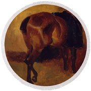 Study For Bay Horse Seen From Behind Round Beach Towel