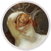 Study For The Gorgon And The Heroes Round Beach Towel