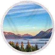 Stunning Alaskan Mountain Lake Round Beach Towel