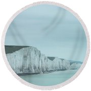 Stunning Dramatic Landscape Image Of Seven Sisters Cliffs In Eng Round Beach Towel