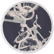 Stunt Bike Trickery Round Beach Towel