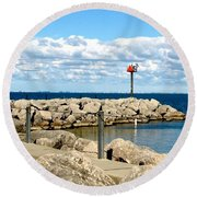 Sturgeon Point Marina On Lake Erie Round Beach Towel by Rose Santuci-Sofranko