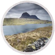 Suilven On A Stormy Day Round Beach Towel