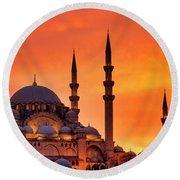 Suleymaniye Mosque At Sunset Round Beach Towel