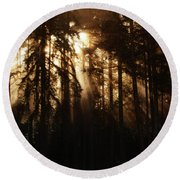 Sultry Morning Radiance Round Beach Towel