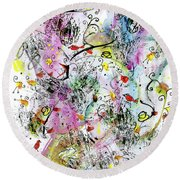 Summer Day By The Artist Catalina Lira Round Beach Towel