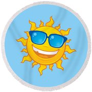 Summer Sun Wearing Sunglasses Round Beach Towel