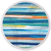 Summer Surf 3- Art By Linda Woods Round Beach Towel