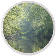 Summer Time River And Trees Round Beach Towel
