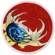 Sun And Moon On Red 2 Round Beach Towel