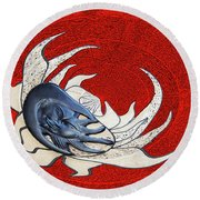 Sun And Moon On Red Round Beach Towel