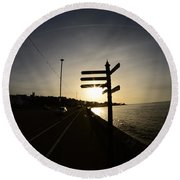 Sun Rise Sign Round Beach Towel