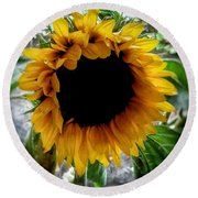 Sunflower 2 Round Beach Towel