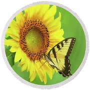 Sunflower And Swallowtail Round Beach Towel