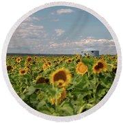 Sunflower Farm Round Beach Towel