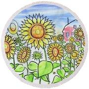 Sunflower Gods Round Beach Towel