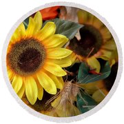 Sunflower Harvest Round Beach Towel