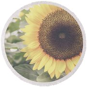 Sunflower Haze Round Beach Towel