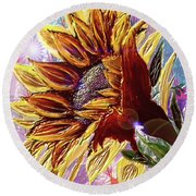 Sunflower In The Sun Round Beach Towel by Darren Cannell
