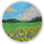 sunflower valley- Sunflower Art-Impressionism painting Round Beach Towel