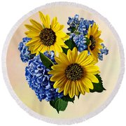 Sunflowers And Hydrangeas Round Beach Towel